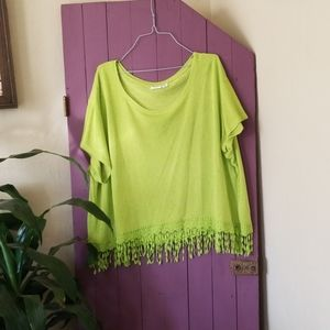 Catos brand lime green crop top style blouse